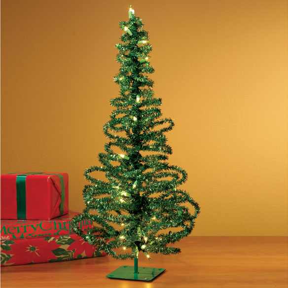 "28"" Pre-Lit Green Tinsel Tree"
