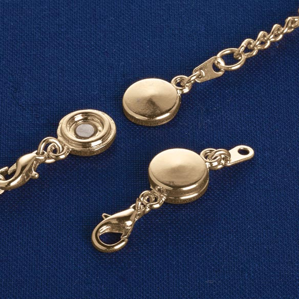 Locking Magnetic Jewelry Clasps - Set Of 4 Locking magnetic jewelry clasps make necklaces and bracelets simple to attach-locking safely in place. Just fasten magnetic jewelry clasps to jewelry for quick, easy on/off. Interlocking ridges keep magnets securely clasped. Lobster claws. Set of 4 locking clasps. 70% alloy/25% iron/5% magnet.
