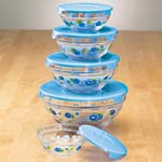 Food Storage - Floral Glass Bowls Set of 5
