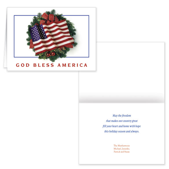Flag Wreath Christmas Card Set of 20