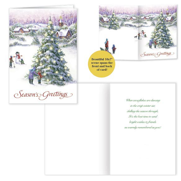 Snowy Village Tree Front & Back Christmas Card - Set Of 20