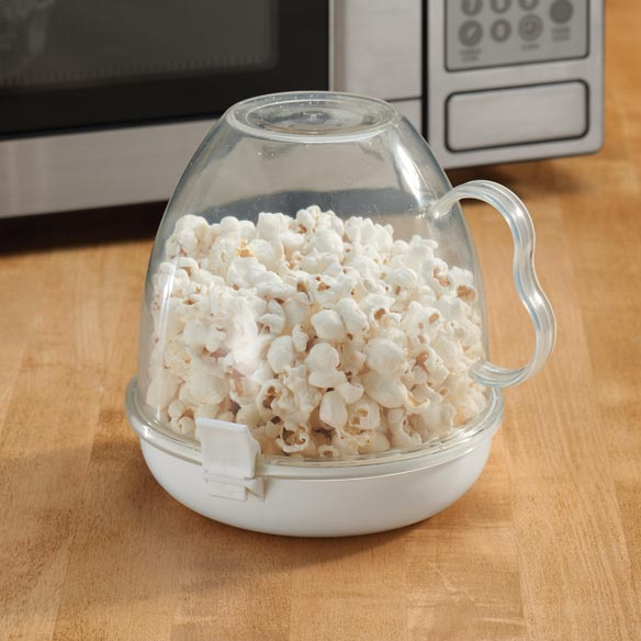 Microwave Popcorn Maker Clear Microwave popcorn popper makes perfectly portioned popcorn with less mess. Simply add kernels with the desired oil, butter or flavoring to bottom tray of microwave popcorn maker. Snap on the clear bowl and microwave. Flip unit, remove lid and eat right from the handled bowl. Microwave popcorn bowl is dishwasher safe. 5 1/2 long x 7 wide x 6 1/2 high.
