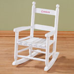 Personalized Child's White Rocker, White/Red