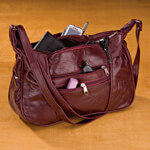 Sale - Burgundy Patch Leather Handbag