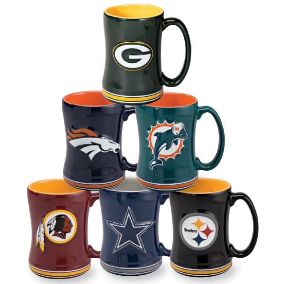NFL Coffee Mug NFL coffee mugs show pride for your team while you watch the game at home or in the stands. Ceramic mug in a choice of all 32 NFL teams features team name and logo. Dishwasher- and microwave-safe NFL mug holds 15 oz. NFL coffee cups are excellent gifts for football fans!
