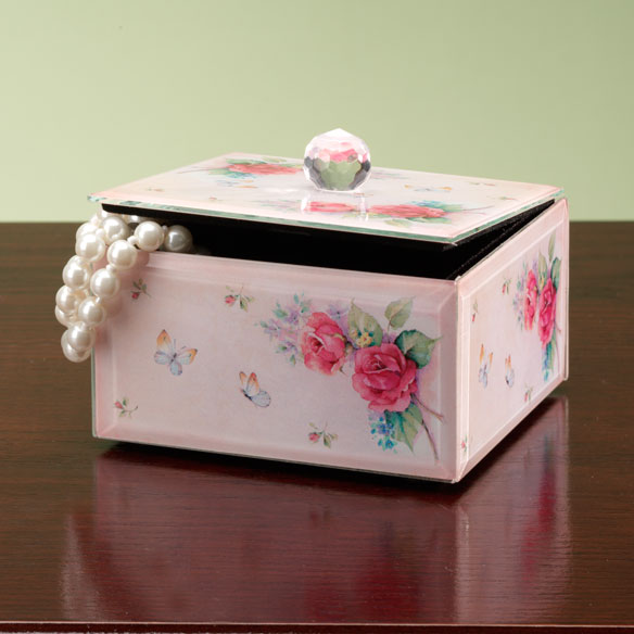 Rose Floral Glass Box