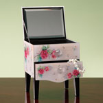 Stocking Stuffers - Rose Floral Glass Jewelry Box
