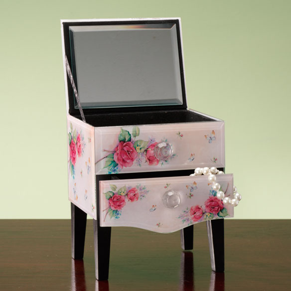Rose Floral Glass Jewelry Box