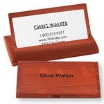 Labels & Stationery - Personalized Rosewood Business Card Holder with Stand