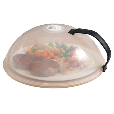 Vented Microwave Cover Large, vented microwave cover has dome-shaped lid that fits over most plates and bowls. This microwave dome cover is perfect for splatter-free microwave cooking and even heating. Adjustable vent allows steam to escape; stay-cool handle assures easy removal. 10diameter x 4 high. Polypropylene; dishwasher safe.