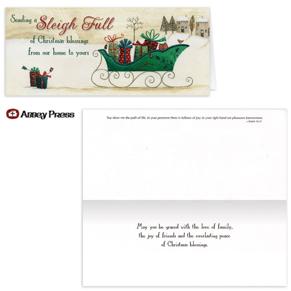 Blessings Sleigh Christmas Card - Set of 20