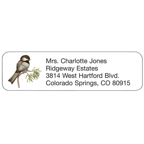 Personal Design Labels Chickadee