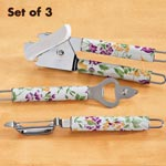 3 Pc. Floral Handle Gadget Set