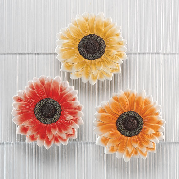 Giant Flower Plaques, Set of 3