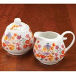Floral Porcelain Sugar and Creamer Set