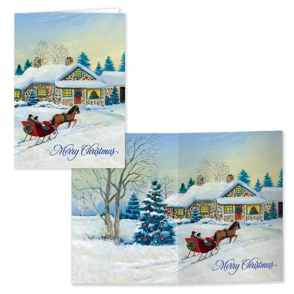 Sleigh Scene Front and Back Christmas Card Set of 20