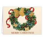 Sale - Butterfly Wreath Embossed Christmas Card Set of 20