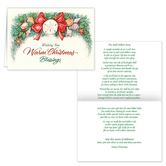 Sand Dollar Poem Christmas Card Set of 20