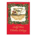 Holidays & Gifts - Sandy Clough Teacup Poem Christmas Card - Set of 20