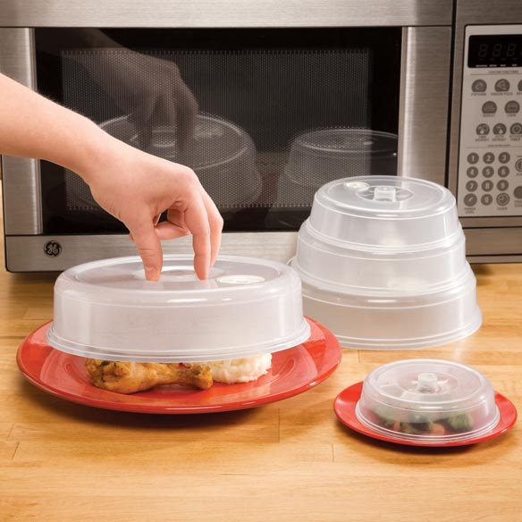Vented Microwave Plate Covers - Set of 5 Clear Vented microwave plate covers protect your microwave from splatters. Set of 5 covers range in size from 4 1/2 dia. to 8 3/4 dia. Microwave plate covers are perfect for reheating a variety of dishes. Nest for easy storage. Microwave food cover is top rack dishwasher safe.