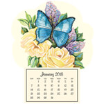 Mini Magnetic Calendar Lilac Butterfly