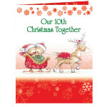 Unique Personalization - Years Together Teddy Bear Couple Christmas Card Set of 20