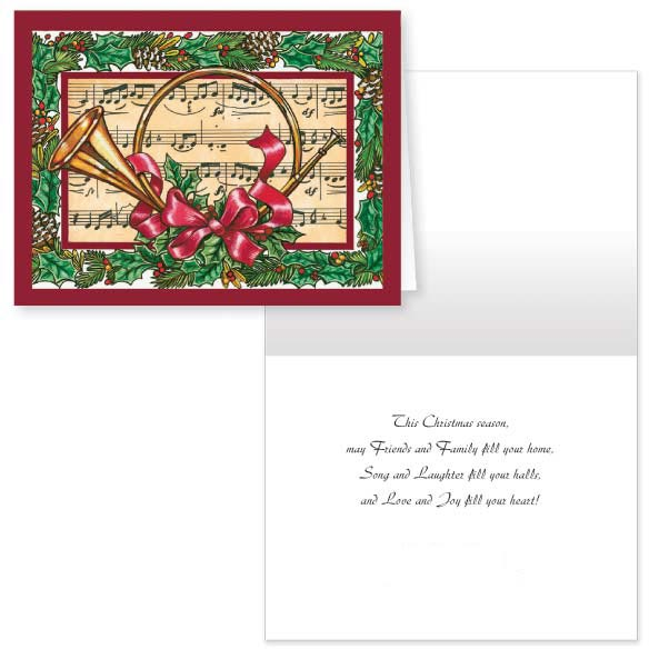 French Horn Christmas Card - Set Of 20