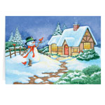 Secular - Snowman Cottage Christmas Card - Set Of 20