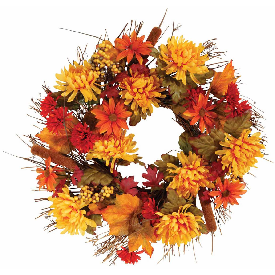 """18"""" Fall Mum Wreath by OakRidge™-342425"""
