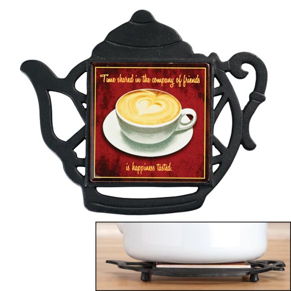 Cast-Iron Teapot-Shaped Trivet with Tile