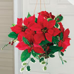 Decorations & Storage - Silk Poinsettia Hanging Basket