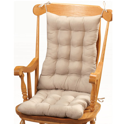 Solid Rocker Chair Pad Set Thick, tufted rocker chair pads tie on easily and securely-updating any rocker with style and comfort. Rocker chair pad set includes 22 long x 17 wide x 3 deep back and 19 long x 17 wide x 3 deep seat cushion. Rocking chair pads and cushions are polyester/cotton, polyester fill; spot clean. Imported.