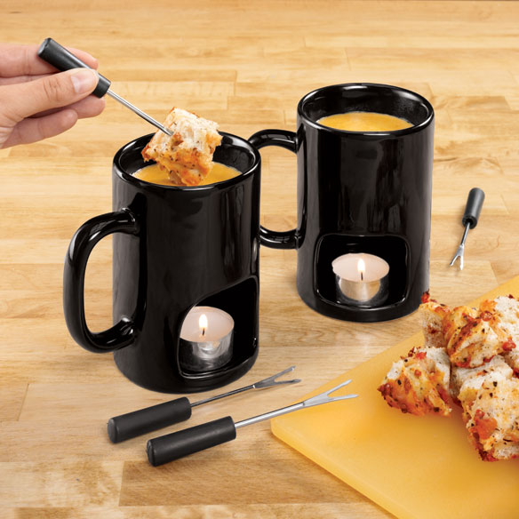 Black Personal Fondue Mugs, Set of 2