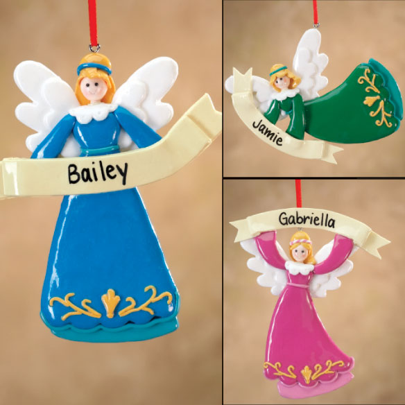 Personalized Angel with Banner Ornament