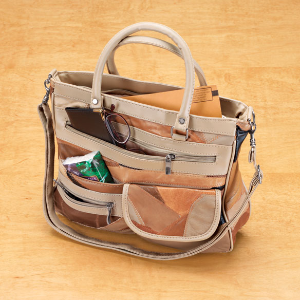 Convertible Patch Leather Handbag