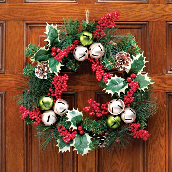 Holly and Jingle Bell Wreath