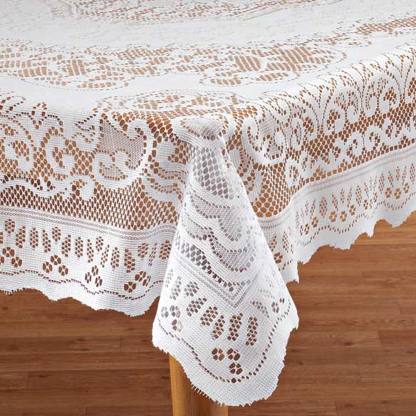 White Fleur De Lis Lace Tablecloth