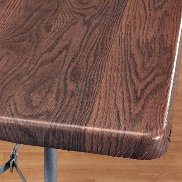 Wood Grain Elasticized Table Cover - View 1