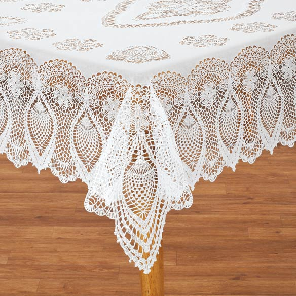 Lace Tablecloths Lace offers a classic and timeless feel to any party, wedding or event. For a vintage-inspired wedding, tea party or any elegant setting, add style to your table setting by placing a lace overlay on top of your tablecloth or a lace table runner.