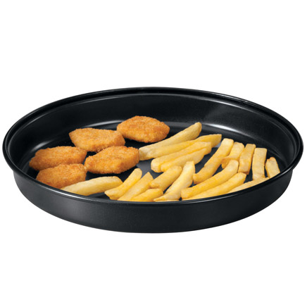 Microwave Crisper Pan Finally ... CRISPY pizza, fish, fries, bacon and more, hot from your microwave, crisped in this amazing microwave crisper pan! Specially engineered to heat food at high temperatures and prevent it from turning moist or soggy, the non-stick metal alloy renders oven-quality results in the microwave. Non-slip footed bottom protects surfaces. 1 1/2 high x 9 3/4 diameter. Hand wash.