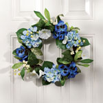 Decorations & Accents - Blue Silk Floral Wreath