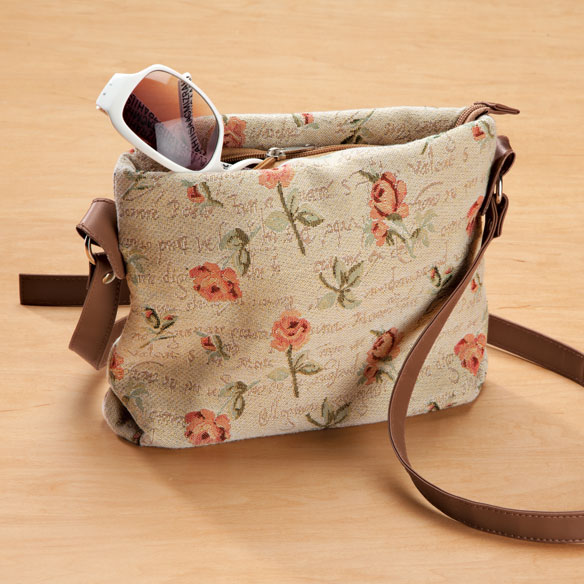Flower Print Tapestry Handbag