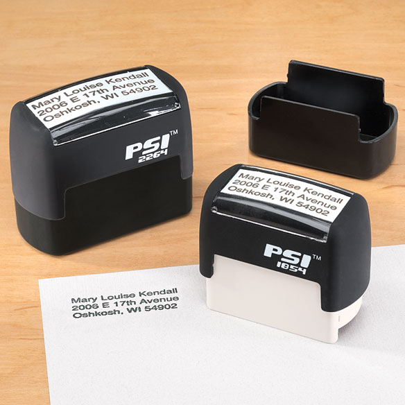 Personalized Self Inking Stamper, Large Personalized self inking stamper is the easy way to put your return address onto envelopes, mail-in coupons, sweepstakes entries, warranty cards, forms. Stamps more than 6,000 times! Small stamper makes 3/4 x 2 impression. Large stamper makes 1 x 2 1/2 impression. Each has 4 lines, 26 letters/spaces per line. Specify name and address. Plastic unit.