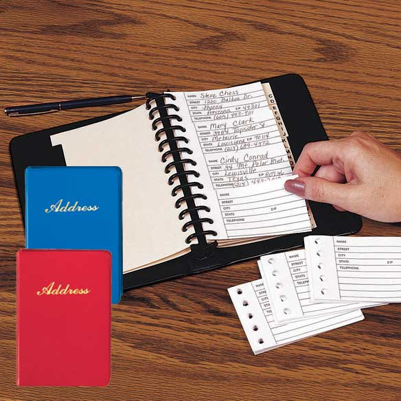 Desktop Address Book Classic ring binder makes the perfect refillable desktop address book since loose-leaf pages offer easy updates. Individual 2 1/2 Long x 3 7/8 Wide address sheets feature lined space for a single entry; simply replace for quick, tidy revisions. 7 1/4 Long x 5 1/4 Wide vinyl binder includes A-Z index tabs and 100 address sheets. Refills sold separately.
