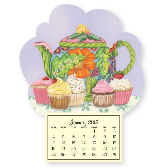 Mini Magnetic Calendar Teapot and Cupcakes