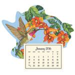 Calendars - Mini Magnetic Calendar Floral Hummingbird