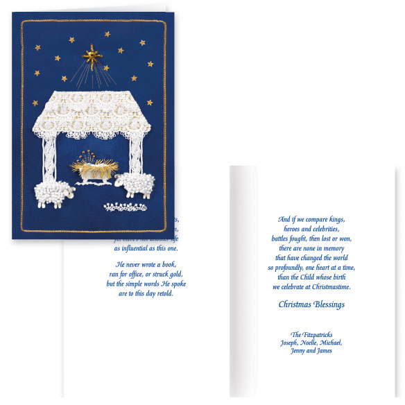 Satin Nativity Christian Christmas Card Set of 20 - View 1