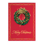 Secular - Satin Wreath Christmas Card Set of 20