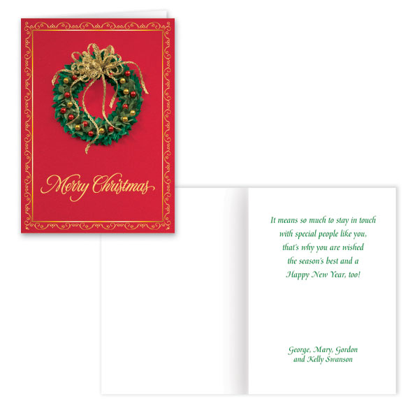 Satin Wreath Christmas Card Set of 20