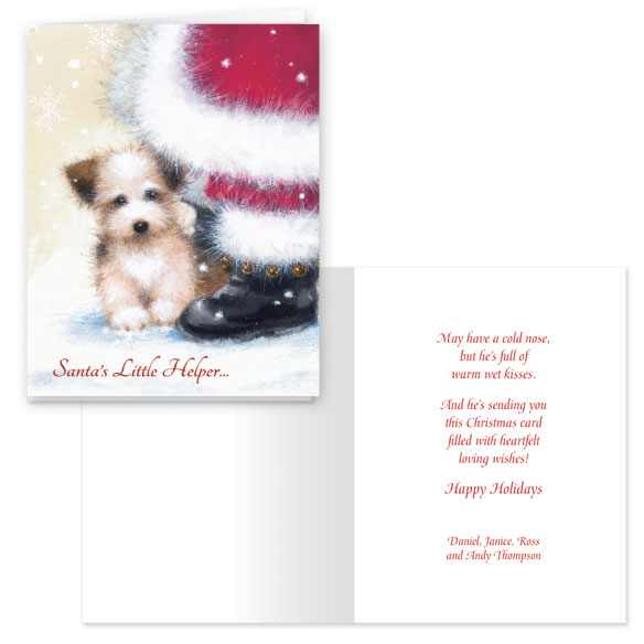 Santa's Little Helper Christmas Card Set of 20